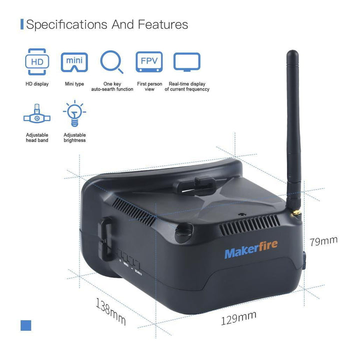 Makerfire VR006 Mini FPV Goggles Headset 3inch 800*600 Display 5.8G 40CH Built-in 3.7V 500mAh