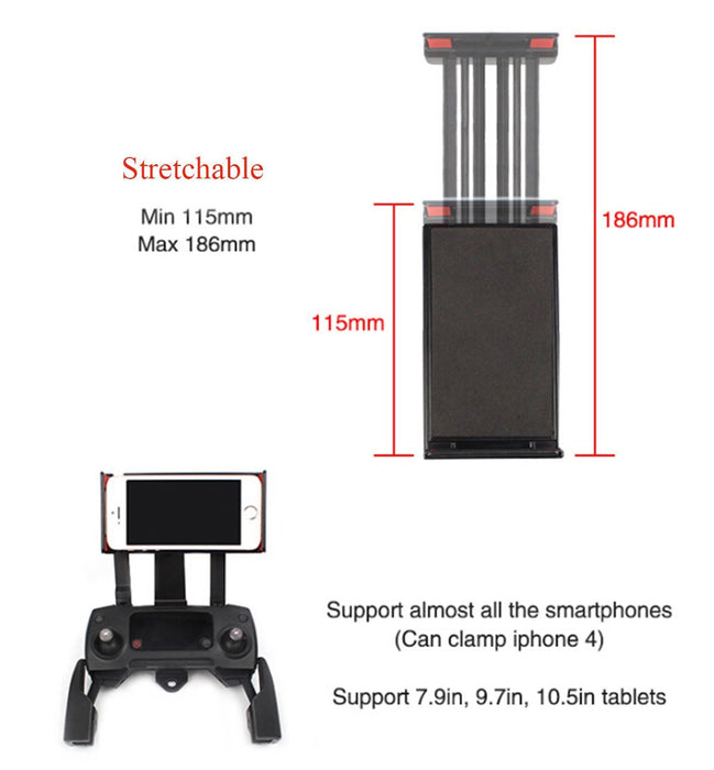 Adjustable Cellphone Tablet Monitor Holder Bracket for DJI Mavic and DJI Spark Drone Transimitter