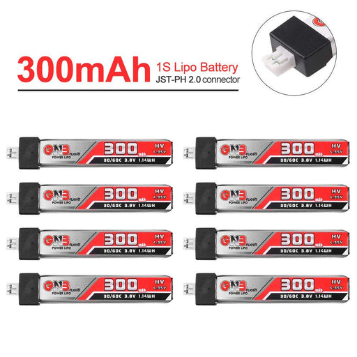 GAONENG 300mAh 1S LiPo Battery 30C 3.8V/4.35V LiHv Battery  with JST-PH 2.0 Connector for Mobula 7 Tiny Whoop Eachine US65 UK65 65mm Whoop FPV Racing Drone 8PCS