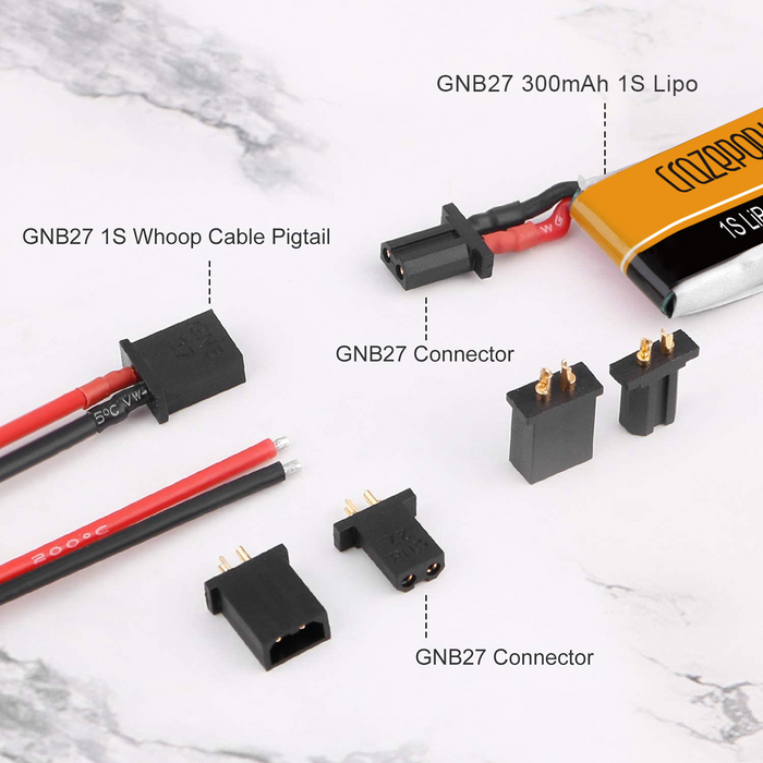 Crazepony 300mAh 1S HV 3.8/4.35V LiPo Battery 30/60C with GNB27 Power Connector (Pack of 4)