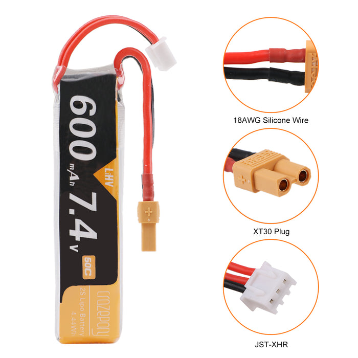 Crazepony 7.4V 600mAh 2S LiPo Battery 50C/100C XT30 Plug for Micro FPV Racing Drone Quadcopter (Pack of 2)