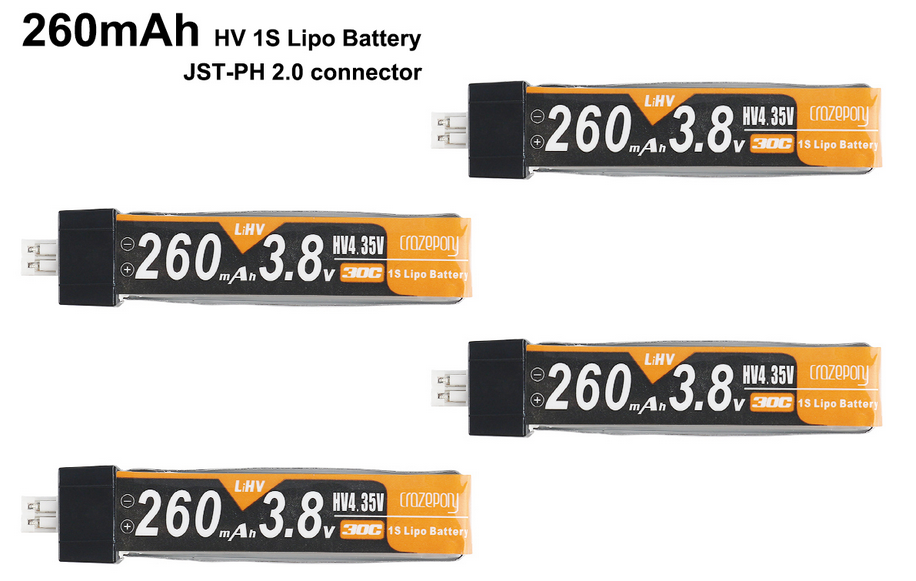 Crazepony 4pcs 260mAh HV 1S LiPo Battery 30C 3.8V for Tiny Whoop Blade Inductrix JST-PH 2.0