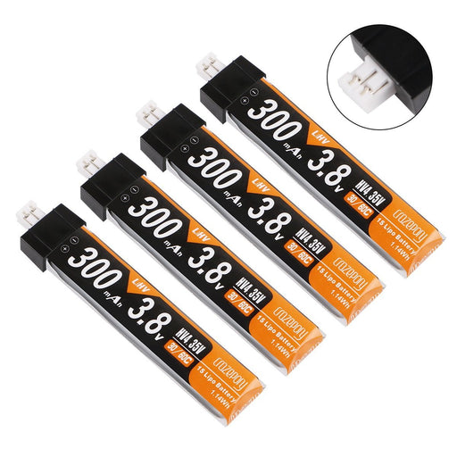 Crazepony 4pcs 300mAh HV LiPo Battery 30C 3.8V for Tiny Whoop JST-PH 2.0