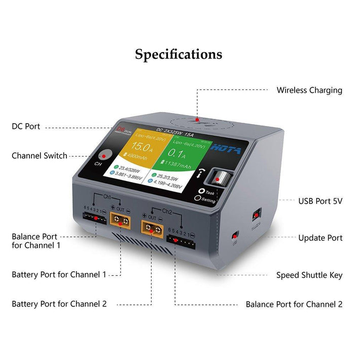 D6 Dual LiPo Battery Balance Charger 2*325W 14A DC Smart Charger