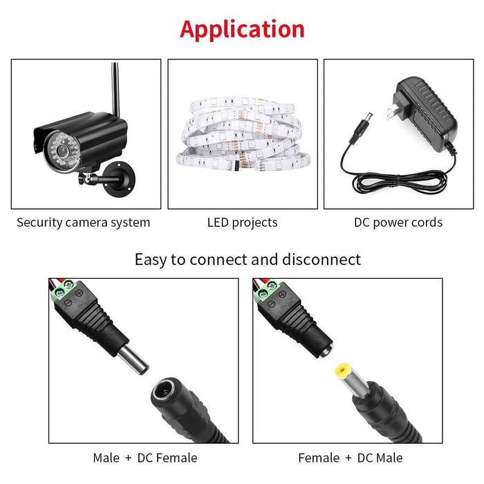 10 Male 10 Female Red Black DC Power Adapter CCTV DVR Camera Lead Plug Pigtail Cable