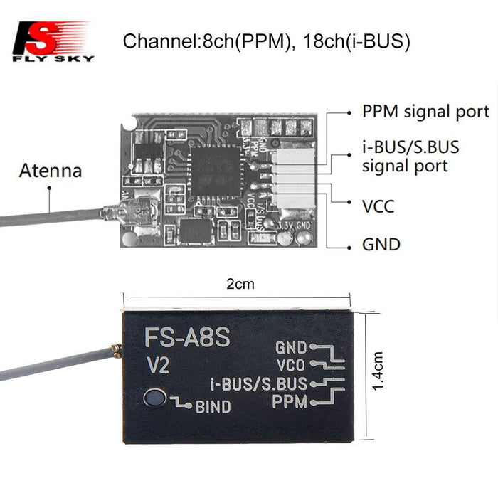 FS A8S Mini Receiver 8CH, PPM i-BUS SBUS Output, for Flysky Transmitter  Controller