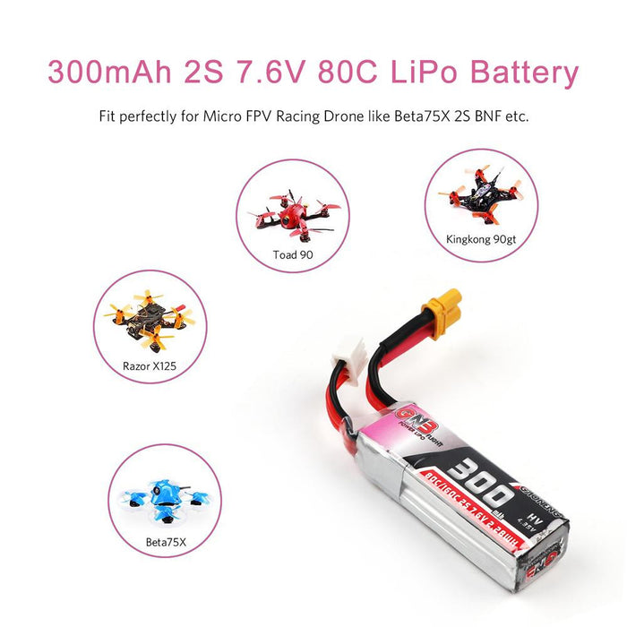 2pcs GNB 300mAh 2S 80C/160C 7.6V LiPo Battery HV LiHv Battery with XT30 Plug