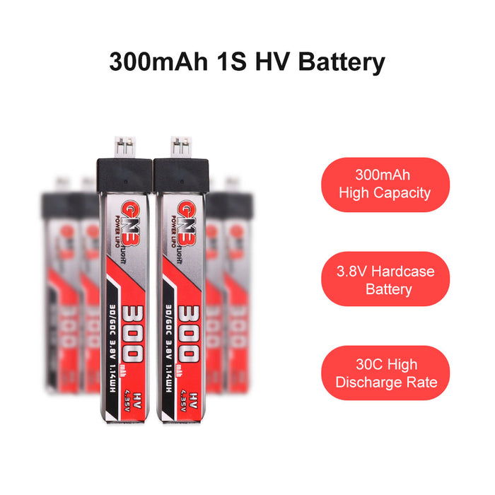 GNB 6pcs 300mAh 30C 1S LiPo Battery 3.8V/4.35V LiHv Battery with JST-PH 2.0 Connector