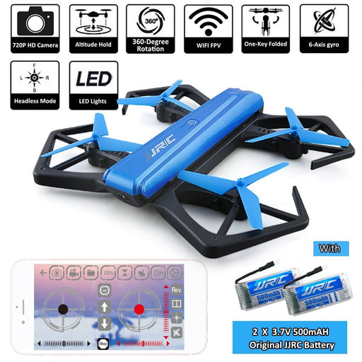 JJRC H43WH WIFI FPV With 720P Camera High Hold Mode Foldable Arm RC Drone Quadcopter (2 Batteries)