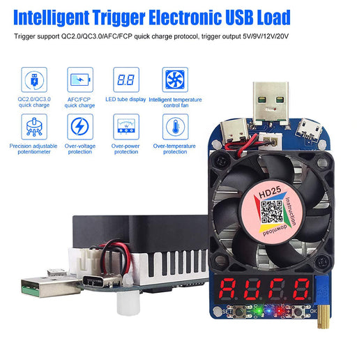 HD25 Intelligent Trigger Electronic USB Load with cooling Fan