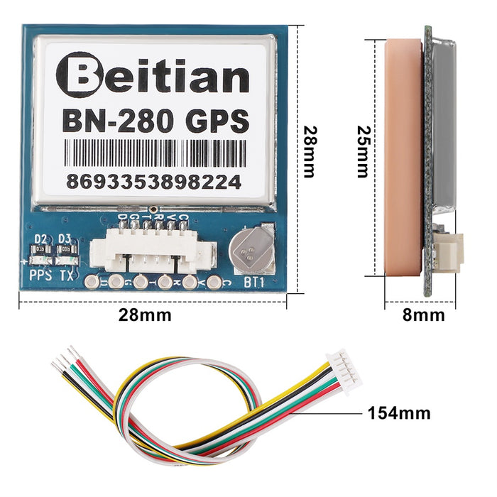 Makerfire GPS Module 10HZ BN-280 GPS + GLONASS Dual Mode With Antenna for RC Drone Flight Control