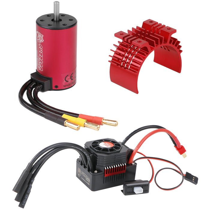 SURPASS 3660 3800KV Brushless Motor  with 80A Waterproof Brushless ESC and Cooling Shell Combo Set for 1/8 RC Car Truck