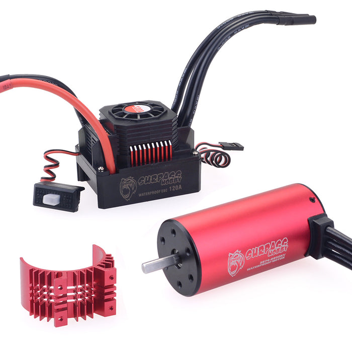 SURPASS 3674 2250KV Brushless Motor  with 120A Waterproof Brushless ESC and Cooling Shell Combo Set for 1/8 RC Car Truck
