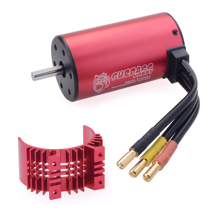 SURPASS 3665 3100KV Brushless Motor  with 80A Waterproof Brushless ESC and Cooling Shell Combo Set for 1/8 RC Car Truck