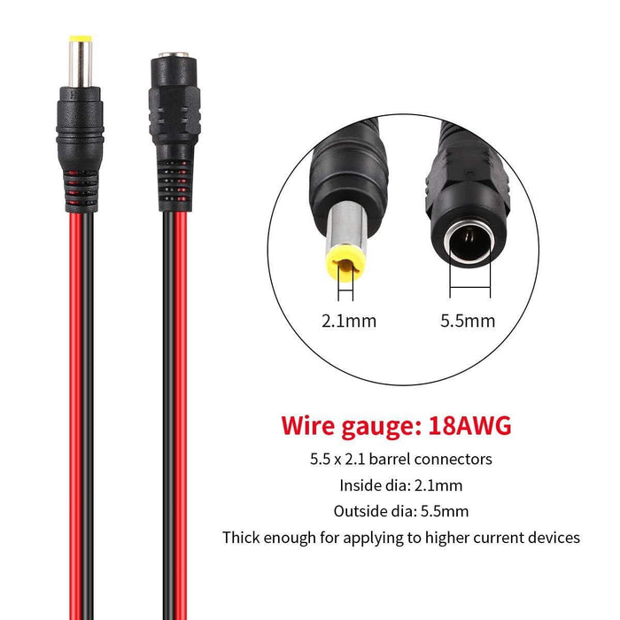 10 Pairs DC Power Pigtail Cable 18AWG +10 DC Power Jack Plug Adapter