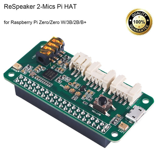 ReSpeaker 2-Mics Pi HAT(Raspberry Pi HAT,Raspberry Pi Expansion Board) Smart Voice Dual Microphone Expansion Board Base on wm8960, Designed for AI and Voice Applications for Raspberry Pi Zero/Zero W/3B/2B/B+