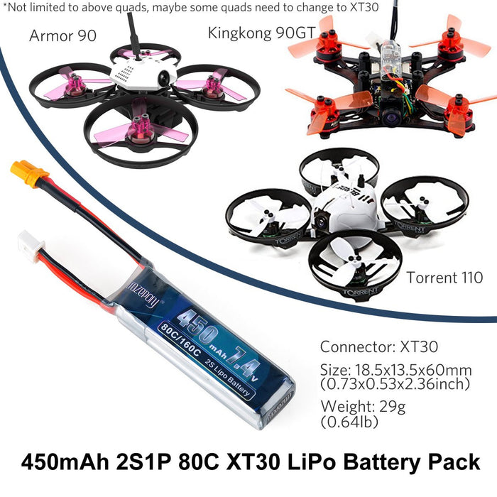 Crazepony 2pcs 450mAh 2S 7.4V LiPo Battery Pack 80C with XT30 Plug for Tinywhoop