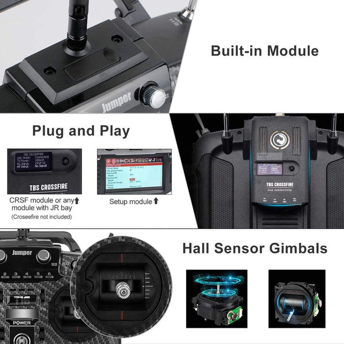 Jumper T16 Pro Hall V2 Radio Transmitter Carbon Fiber Hall Gimbal 2.4G 16CH Open Source Multi-Protocol RC Transmitter