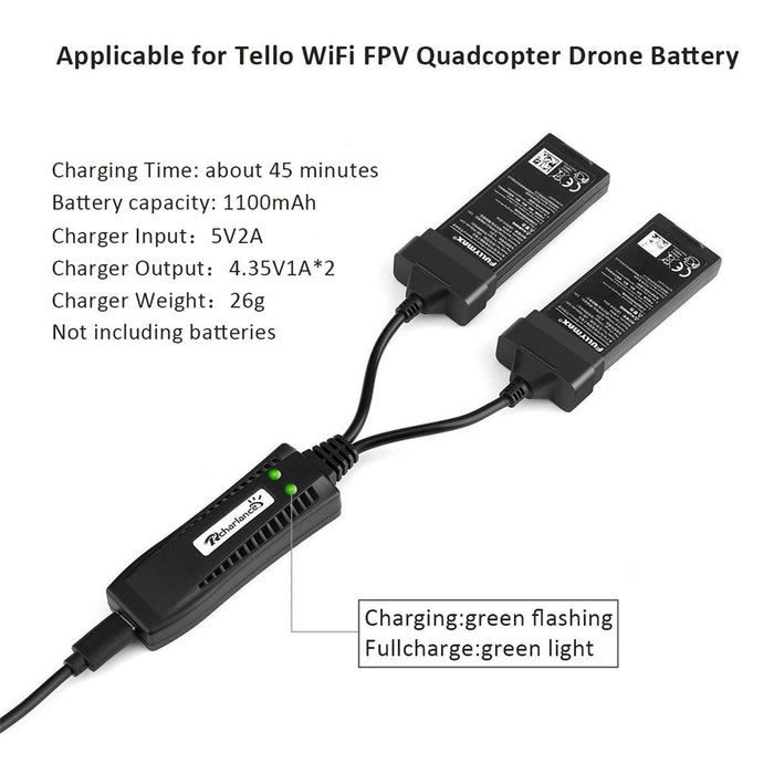 2 in 1 Tello Drone Battery Charger Quick Smart Charger for DJI Tello WiFi FPV Quadcopter Drone