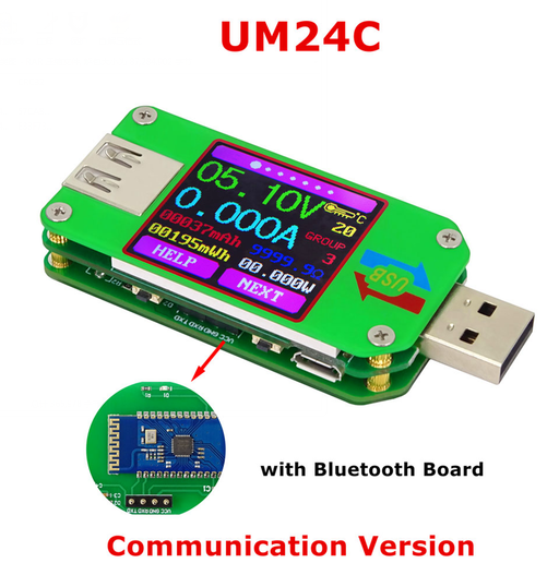 UM24C USB 2.0 Power Meter Tester USB Multimeter Color LCD Display