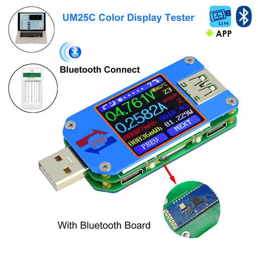 UM25C Color LCD Display Tester, 1.44 Inch 5A USB 2.0 Type- C Bluetooth Communication Version, Voltage Current Meter Voltmeter Ammeter Battery Charge, Measure Cable Resistance, Load Impedance Measurement, DIY Background Settings