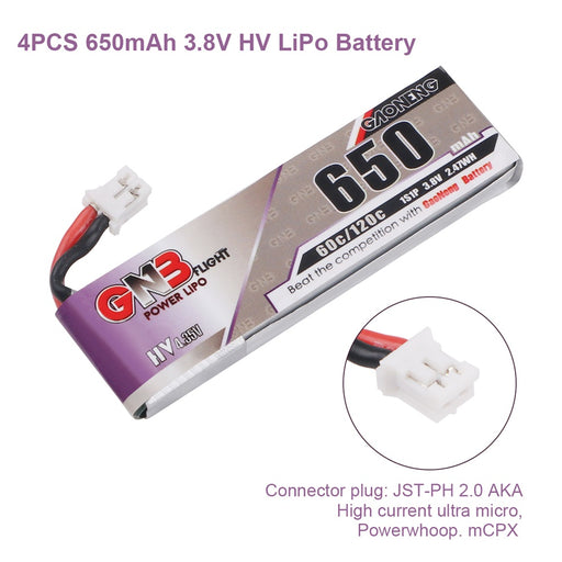 GNB 4pcs 650mAh 1S 3.8V HV LiPo Battery 60C with JST-PH 2.0 PowerWhoop mCPX Connector for FPV Drone
