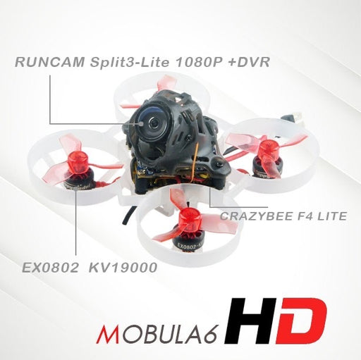 Happymodel Mobula6 HD 65mm Crazybee F4 Lite 1S Whoop FPV Racing Drone BNF w/ Runcam Split3-lite 1080P HD DVR Camera Compatible Frsky D8 Receiver