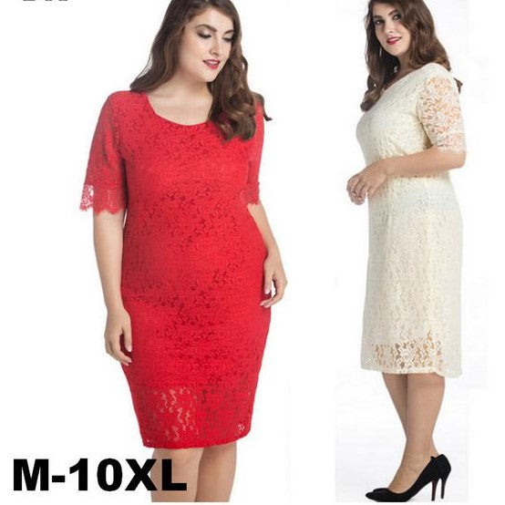 Plus Size Women's Full Lace Half Sleeve Dress
