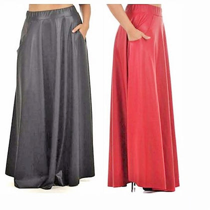 Women's Casual Long Leather Skirt Plus Sizes