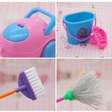 Mini Simulation Home Cleaning Tools Playset Toy for Barbie Doll House 9pc