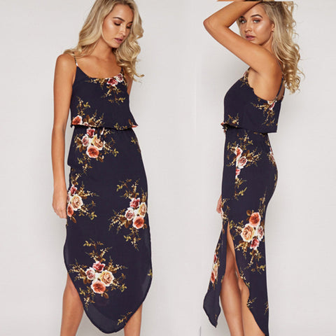 Side Split Slim Sleeveless Straight boho Beach Mid-Calf Dress
