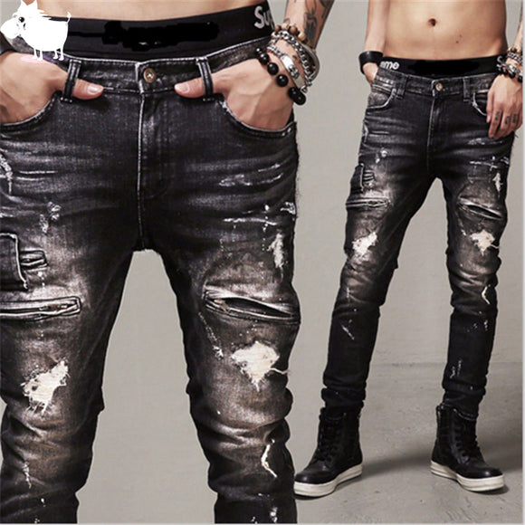 Ripped Hip-hop jeans