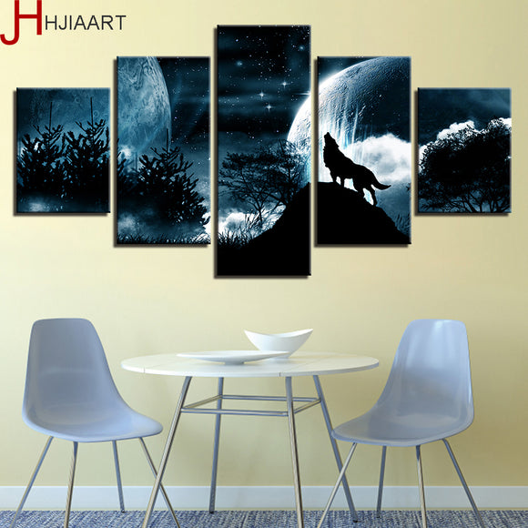 Full Moon Wolf Printed 5pc Canvas art