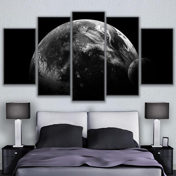 Moon Universe Planet Wall Art Framed/Unframed 5 Panel