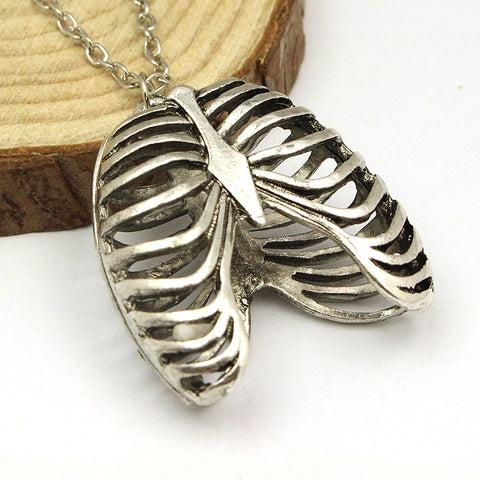 FREE Ribcage Pendant Charm Silver toned Gothic Necklace