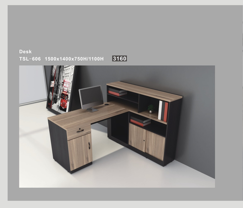L-Shape Desk with filing cabinet