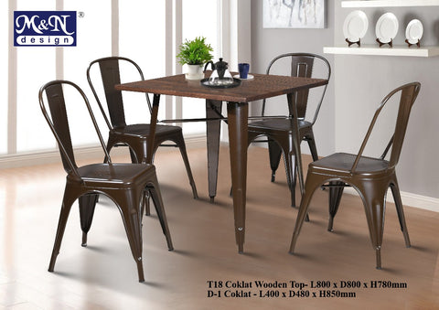 Metal Bar Table set with Coklat Wooden Top - T18 + D1 - M&N Office Furniture Store