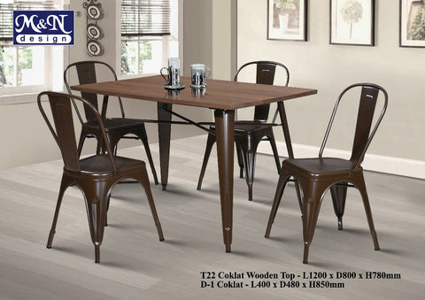Metal Bar Table set with Coklat Wooden Top - T22 + D1 - M&N Office Furniture Store