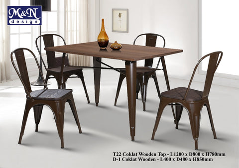 Metal Bar Table set with Coklat Wooden Top - T22W + D1W - M&N Office Furniture Store