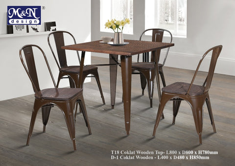 Metal Bar Table set with Coklat Wooden Top - T18W + D1W - M&N Office Furniture Store