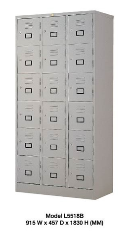 Steel Locker - 18 Compartment with keylock - L5518B - M&N Office Furniture Store