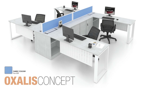 Workstation -Oxalis Concept Cluster of 4 - Custom Made - M&N Office Furniture Store