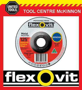 "FLEXOVIT 125mm / 5"" x 6.8mm X 22.2mm DEPRESSED CENTRE METAL GRINDING WHEEL"