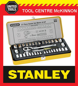 "STANLEY 89-518 37 PIECE 1/4"" & 3/8"" DRIVE METRIC & IMPERIAL SOCKET SET IN METAL CASE"