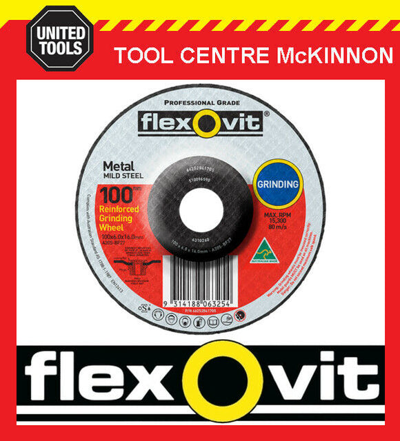 "FLEXOVIT 100mm / 4"" x 6.0mm X 16mm DEPRESSED CENTRE METAL GRINDING WHEEL"