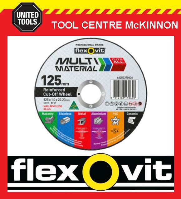 "25 x FLEXOVIT 125mm / 5"" MULTI MATERIAL CUT-OFF WHEEL – CUTS JUST ABOUT ANYTHING"