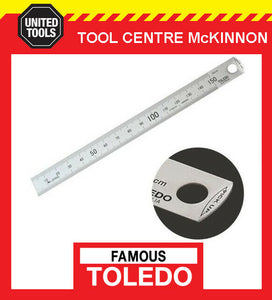 FAMOUS TOLEDO 150mm STAINLESS STEEL EASY PICK-UP SINGLE SIDED METRIC RULE