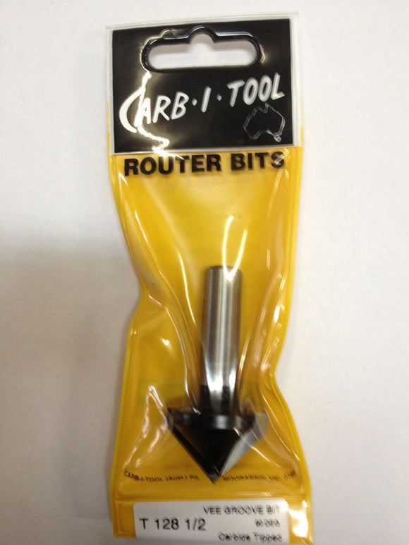 "CARB-I-TOOL T 128 90 DEGREE x ½"" CARBIDE TIPPED VEE GROOVE CUTTER ROUTER BIT"