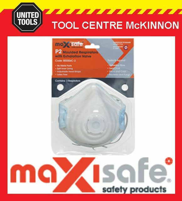 MAXISAFE P2 MOULDED RESPIRATOR DISPOSABLE DUST MASK WITH VALVE – PACK OF 3