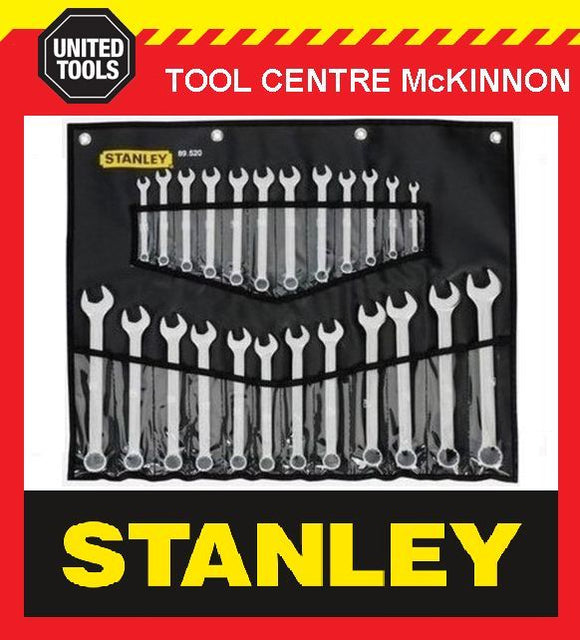 STANLEY 24pce RING & OPEN END COMBINATION METRIC & A/F SPANNER SET IN ROLL930069